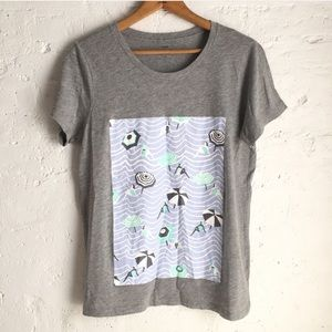 NWT J. Crew Collector's Tee with beach scene